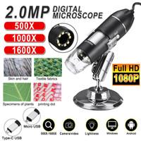 Réglable 1600x 2MP 1080P 8 LED Microscope numérique Type-C / Micro Loupe USB STEREO STEREO USB endoscope pour téléphone PC
