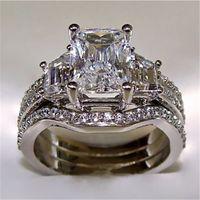 Vintage 10K White Gold 3ct Lab бриллиантового кольцо наборы 925 серебряной BIJOU помолвка обручального кольцо Кольца для женщин мужских ювелирных изделий