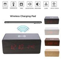 Led électrique en bois Réveil numérique avec Qi de charge sans fil lumière LED Pad numérique Chargeur nuit pour Décoration Chambre Digital Home