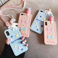الحبل الحب اليابان 3D لطيف دمية الكرتون حيوان القط بلدي ميلودي سيليكون حالة فون 7 8 6S بالإضافة إلى XR X XS MAX غطاء وردي الفاخرة