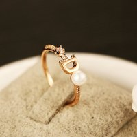 High quality rose gold rings for women imitation pearl letter D CZ diamond ring fashion Korea design sterling silver jewelry jewellry