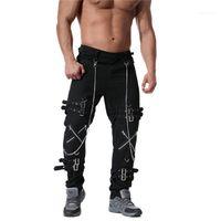Adolescents Hiphop Streetwear Cargo Pantalons Designer Spring Mens chaîne punk rock métal vintage Pantalons hommes cool Vêtements Casaul