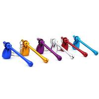 미니 금속 파이프 다채로운 유리 물 알루미늄 키 체인 필터 담배 파이프 흡연 액세서리 키 체인 키 체인