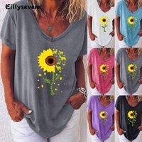 Kadın T-shirt 2021 Yaz Vintage Tshirt Bayan Rahat V Yaka Kısa Kollu Ayçiçeği Baskı Tee Kadınlar Gevşek Tops