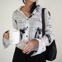 Женские блузки Рубашки Wkoud Eame Одежда / 2021 Мода Длинные рукава Черный Белый Письмо Спетер Печать Свободная Повседневная Рубашка Блузка Ye18700