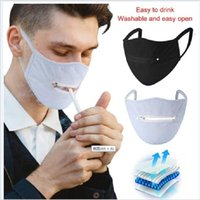 2020 Hot sale Zipper Funny Mask Creative Zipper Face Mask Zipper Design easy to drink Washable Reusable Covering Protective face masks