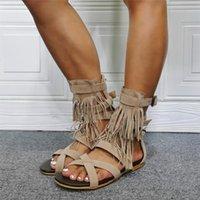 Sandalet Püskül Roma Düz Açık Toe ile Ayak Bileği Toka Ayakkabı Kesme Yaz Bayanlar Rahat Özel Yapılan Gerçek Resim