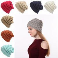 Moda feminina Beanie inverno quente malha Outdoor Hat 17 cores Meninas Grosso lã Skullies Gorros Chapéu de Festa transporte marítimo DDA590