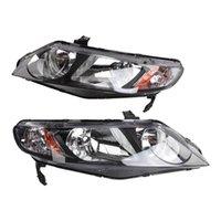 Winsun 2st Front vänster höger bil strålkastare för Honda Civic 2006 2011 4DR-modeller bara svart
