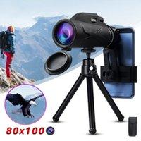 Portátil 80x100 Telescópio HD High Power Binocular Professional Noite Militar Visão Monocular Zoom óptico Spyglass Hunting T200821 Âmbito