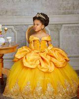 노란색 레이스 크리스탈 2020 꽃의 소녀 드레스 BATEAU Balll 가운 어린 소녀 웨딩 드레스 저렴한 성찬식 선발 대회 드레스 가운 F359