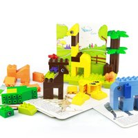 100pcs Larger particles building blocks DIY children popular science educational toys I love the zoo puzzle assembling creative gift 02