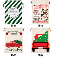 2021 New Christmas Gift Bags 50*70 cm Large Organic Santa Sack Drawstring Bag Reindeers Santa Claus Sack Bag for kids 40 styles