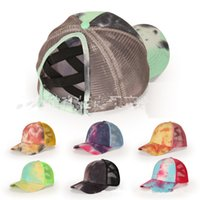 Tie Dye Criss Cross Coda di cavallo Berretto da baseball adulti Hip Hop regolabile Cappelli Mesh Ovatta Cap Estate Outdoor Sun Protection D92102