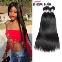 Ishow Hair 8a Péruvien Droite Vierge Hiar 4 Bundles 100% Péruvien Péruvien Heangs Teins Peruvian Virgin Hair Dyable