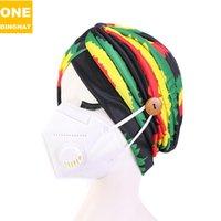 Mulheres Lenço Hat Índia com botão Máscara Holer Cap Gorros arco-íris Anti-Tight Sem Máscara Boca