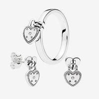 Calore Amore dell'anello del pendente e orecchini set per Pandora 925 anelli di nozze Orecchino con scatola originale per le donne
