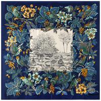 New Designer Twill Silk Shawl Scarf Femmes Motif oiseaux imprimé floral Echarpes Wraps Fourlard Femme Big Taille Foulard carré 130 * 130cm