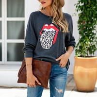 New fashion leopard pullover kiss print O- neck women long sl...