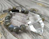 YA4004 Natural clara quartzo duplo ponto Labradorite Stone Beads Cord nó pulseira Ajuste 6.5inch longo