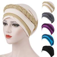 Женщины 2-Tone Потеря цвета Блок мусульманской Тюрбан Cap Блеск Twisted Braid волосы Head Wrap Stretch Шапочка Раки Химиотерапия Hat