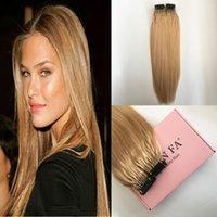 Couleur # 27 Silky droite pleine tête réel Human Hair Extensions une expérience agréable à porter Honey Blonde 6D Hair Extensions