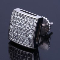Mens Hip Hop Stud Earrings Jewelry New Fashion Gold Silver Simulated Diamond Square Earrings For Men