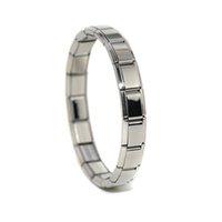 Großhandel Edelstahl 9mm Klassische Größe 18 stücke Modulare Kompocosable Links Einstellbar Glänzend Silber Italienisch Charme Starter Armband