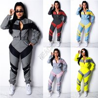 Kadınlar Kış Ceket Mahsul Fermuar Coat Tops ve Pantolon İki Adet Kıyafet Sonbahar Uzun Kollu Eşofman Renk Maç Patchwork Spor D82404