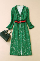 816 2020 Marka Aynı Stil Düzenli Uzun Kollu Dantel Elbise Üst V Yaka