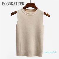 Venda quente BOBOKATEER sensuais sem mangas da camisa de t roupas femininas Poleras Mujer de Moda 2020 Top verão mulheres branco camisetas t-shirt ocasional femme