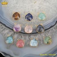 5pcs naturel Howlite labradorite Amazonite Perles Connecteur Pour Bracelet Making, plaqué or Bails pendants de cristal Charms bijoux bricolage
