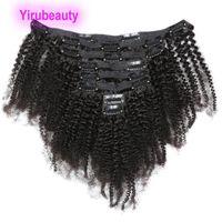 Clipes Afro Cabelo Malásia Humano Kinky Curly em extensões do cabelo 120G Clip-no cabelo por atacado baratos Remy 8-20inchh
