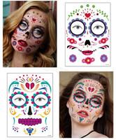 Halloween tatouage temporaire Autocollants Décor Props visage autocollant Atmosphere imperméable mascarade tatouages visage pour le corps Art FFA4461-3