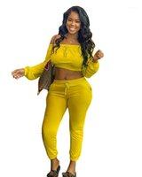 Printemps Automne manches longues Sport RUNNING solide Femme Couleur Deux Piece Outfit Femmes Designer Survêtements