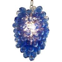 Европейский Bubble Люстра Освещение синий цвет муранского стекла светодиодные цепи подвесные светильники Art Deco American Pride Рука выдувное стекло Люстра-L