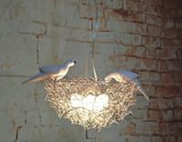 أدى الثريا عش الطائر الإبداعي مصابيح أسلاك الألمنيوم الطيور الطيور البيض الثريا الفن الشمال الأطفال غرفة مطعم الدراسة التي تقودها