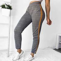 Frauenhose Capris 1 stück Mode-Stil Vintage Plaid Harem Frauen Casual Elastische Taille Hose Herbst Knöchellangen Weibchen
