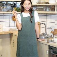 앞치마 씻어 꽃 가게 작업을 위해 요리를위한 면화 린넨 주방 앞치마를 씻어 깨끗한 Pinafore 여성 유니폼 레이디 드레스