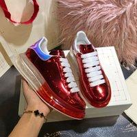 2020 Классический цветной Broad обувь мужчин лета женщин типа Кристалл Bottom кожа шнурок Одноместный обуви сдобы толстым дном Досуг Белая обувь
