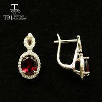 TBJ, 100% Rhodolite Naturale granato chiusura earrring ovale tagliare 6 * 8mm 3.3ct vero Brasile gemma gioielli in argento 925 per le ragazze