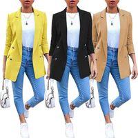 Womens 디자이너 솔리드 블레이저 옷깃 목 더블 브레스트 숙녀 정장 패션 세 쿼터 슬리브 여성 겉옷 의류 포켓