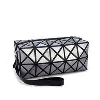 Maquiagem 2020 Bag Moda portátil Folding pacote PU maquiagem Couro Bolsas Mulheres Geometric Zipper Cosmetic Bag Mini Organizador Bags