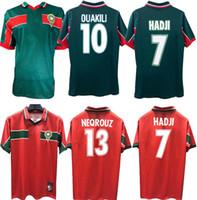 1998 المغرب ريترو لكرة القدم جيرسي 98 99 المغرب حاجي باسر وعاءي ننفريز أبرامي خمر قميص كلاسيكي القديم
