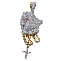 Hip Hop gefror heraus Goldfarbe überzogen Kreuz und Betende Hände hängende Halskette Mikro pflastern Zircon-Partei-Geschenke Schmuck