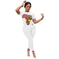 Mulheres Tracksuits Womens Tracksuit Moda Design 2 PCS Mulheres Conjunto Imprimir O-Pescoço Tops Long Calças Elástico Outfits