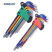 KINDLOV Hex Juego de llaves de doble extremo Torx estrella en forma de L llave Allen de cabeza esférica Destornillador Llave universal 9Pcs reparación de las herramientas de mano