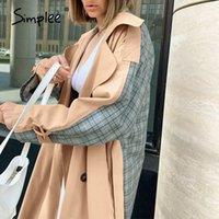 여성 트렌치 코트가 단순한 인과 빛 Tan 가을 겨울 윈드 브레이커 분할 공동 우아한 긴 소매 코트 격자 무늬 여성