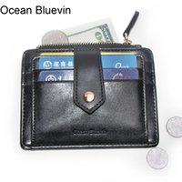 المحيط Bluevin الجودة الرجال حاملي ID الرخصة الجودة 2 طيات خفيفة الوزن زيبر بطاقة الائتمان الإبزيم حامل عملة جيب المحفظة Cateira