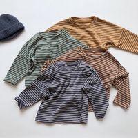 HX осень осень мода дети мальчики девочек полосы футболки дети детские чистые хлопковые топы тройники дизайнер ins ins